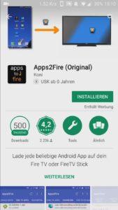 Mit Apps2Fire APK Android Apps vom Smartphone auf Fire TV installieren