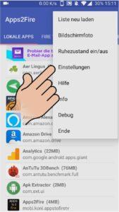 Apps 2 Fire Einstellungen aufrufen