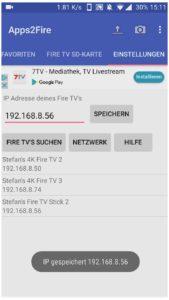 Das Fire TV in Apps2Fire auswählen