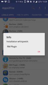 Broadlink RM Plugin erfolgreich auf dem Fire TV installiert