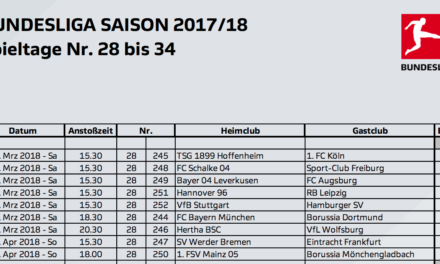 Die letzten Bundesliga-Spieltage 28 bis 34 Terminiert. Ein Samstag-Spiel auf Eurosport
