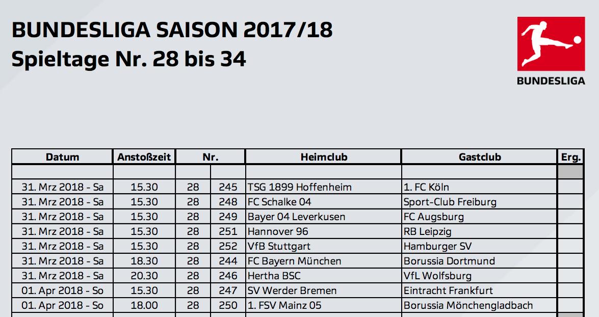 Die Letzten Bundesliga Spieltage 28 Bis 34 Terminiert Ein Samstag
