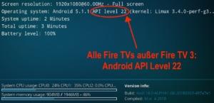 Kodi 18 Alpha auf allen Fire TVs vor dem Fire TV 3 - auf Grund von Android 5.1.1 leider nur mit Android API Level 22