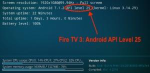Kodi 18 Alpha auf dem Fire TV 3 - durch Android 7.1.2 besitzt es die Unterstützung für Android API Level 25
