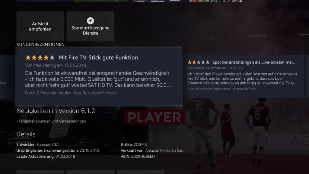 Das sagen Rezensionen zum Eurosport Player auf dem Fire TV
