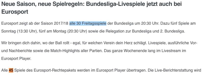 """Screenshot der Eurosport Webseite und """"alle 30 Freitagsspiele"""" - es sind aber nur 29"""