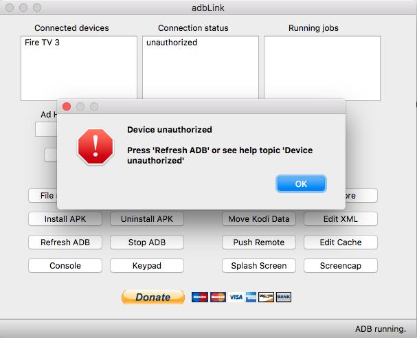 """adbLink-Fehlermeldung beim Verbinden mit dem Fire TV 3 oder dem Nvidia Shield TV: """"Device unauthorized"""""""