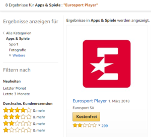 Eurosport Player App im amazon App Store für Fire TV