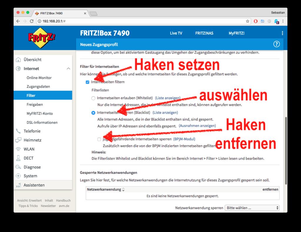 Beim Fritz!Box-Zugangsprofil den Punkt Internetseiten Filtern setzen wie hier gezeigt