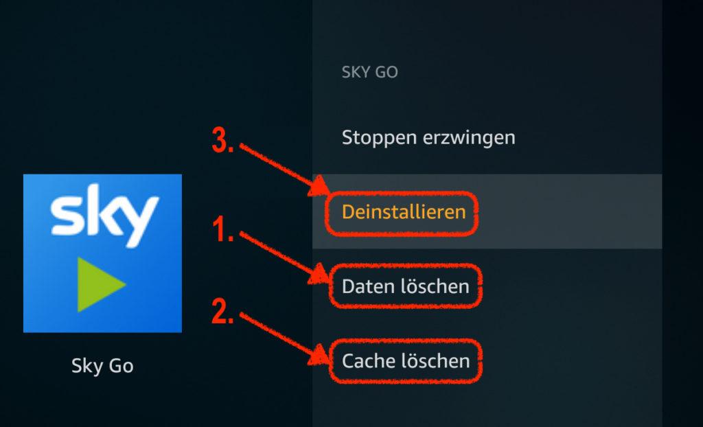 """Alte Version von SkyGo zunächst sauber entfernen bevor Ihr die bearbeitete APK installiert. Zuerst auf """"Daten löschen"""", dann auf """"Cache löschen"""" und schließlich auf """"Deinstallieren""""."""