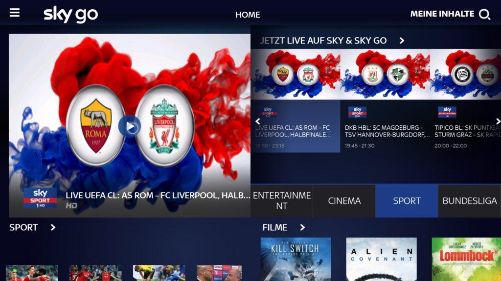 Heute Abend Champions League schauen mit SkyGo & einem Fire TV auf dem Fernseher - AS Rom gegen FC Liverpool
