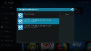 """Mit Hilfe des AddOns """"Kodi Android Installers"""" könnt Ihr ab Kodi Version 16.0 direkt aus Kodi heraus ein Update auf Kodi 18 durchführen: einfach zunächst auf Kodi 17.6 aktualisieren und dann unter snapshots/android/arm die neueste Alpha auswählen."""