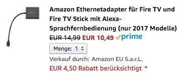 Offizieller LAN-Adapter heute für Fire TV 3 & Fire TV Stick 2 für 10,49 Euro zu haben.
