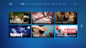 ARD-Mediathek-App startetn, und auf der Startseite den Punkt LIVESTREAMS DER ARD anklicken