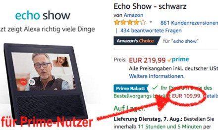 Prime-Deal: Echo Show für 110€ (-50%) & Echo Plus für 100€ (-50€)
