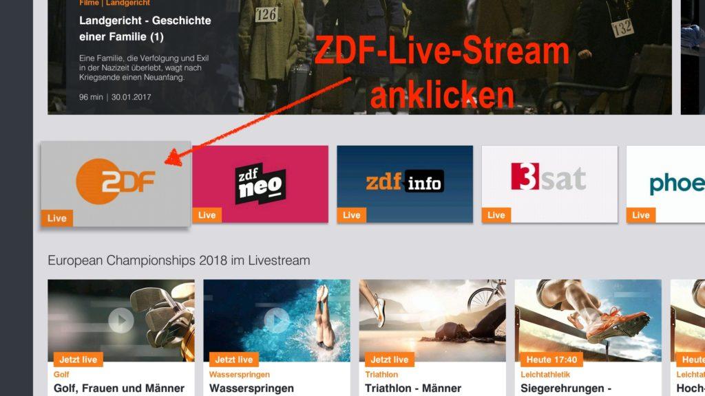 Auf der Startseite geht Ihr dann einmal nach unten und bestätigt durch Klicken auf das ZDF-Live Symbol
