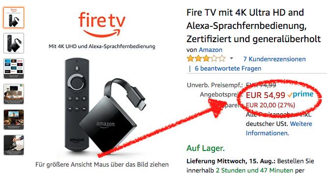 Deal: Fire TV 3 generalüberholt für 55€ bei Amazon