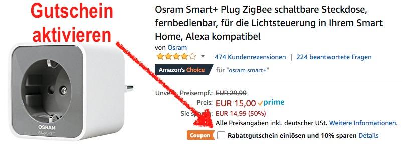 Osram Smart+ Steckdose heute im Angebot bei Amazon für 13,50 Euro - dank Gutschein.