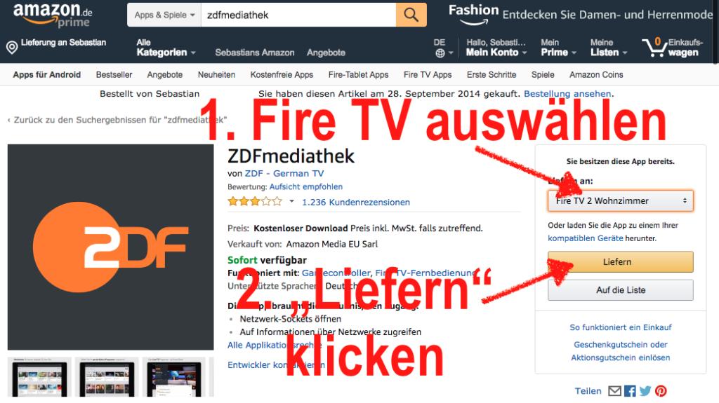 ZDFmediathek App installiert Ihr am einfachsten über die Amazon Webseite - dort wird sie dann direkt an Euer Fire TV geliefert