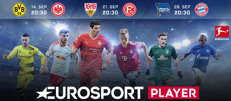 Die Bundesliga-Spiele die man in den nächsten Wochen im Eurosport Player sehen kann