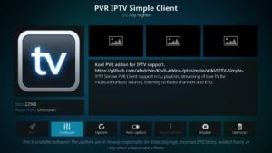 Wenn der Download abgeschlossen ist, klickt Ihr PVR IPTV Simple Client erneut an und dann links auf Configure