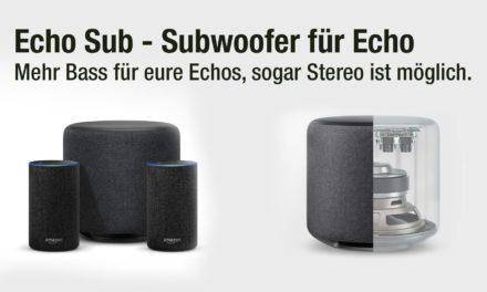 Amazon Echo Sub und Echo 2.1 Stereo – Subwoofer sorgt für mehr Bass