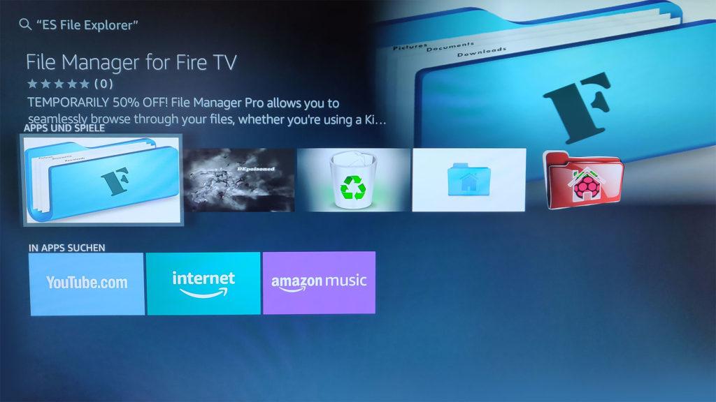 Der ES File Explorer kann auf dem Fire TV Stick 4k nicht mal über die manuelle Suche gefunden oder installiert werden.