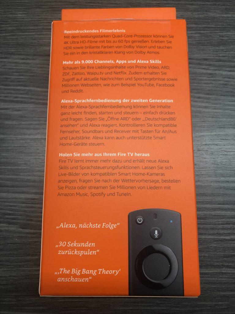 Die Rückseite der deutschen Verpackung des 4K Fire TV Stick 3