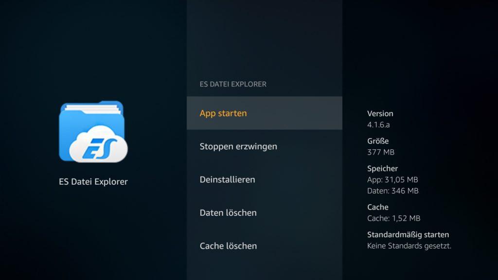 Im App-Menü klickt Ihr dann auf App starten