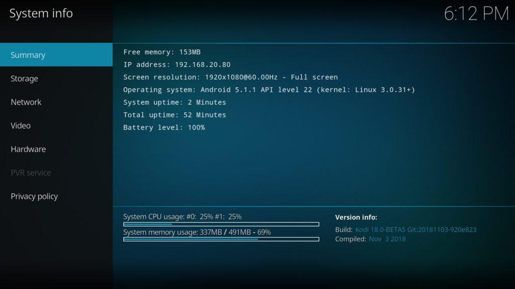 Kodi 18 Beta 5 auf einem Fire TV Stick 1 - läuft zwar etwas träge, aber immer noch ausreichend für die meisten Dinge.