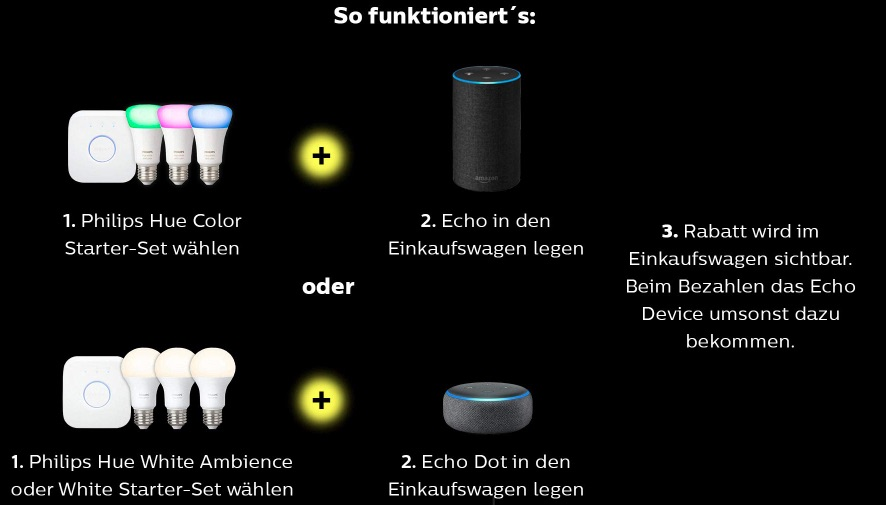 Für bestimmte Philips Hue Sets bekommt man einen neuen Echo bzw. Echo Dot geschenkt