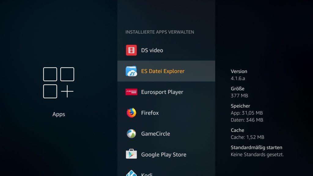 Und sucht dann nach dem Eintrag ES Datei Explorer und öffnet ihn