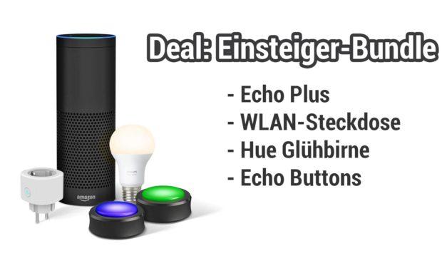 Deal: Amazon Echo Bundle mit Smart Plug, Echo Buttons & Phlipis Hue Glühbirne