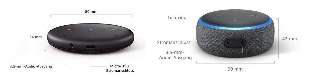 amazon echo input und echo dot verfügen über einen 3,5mm Klinke Audio-Ausgang und Bluetooth