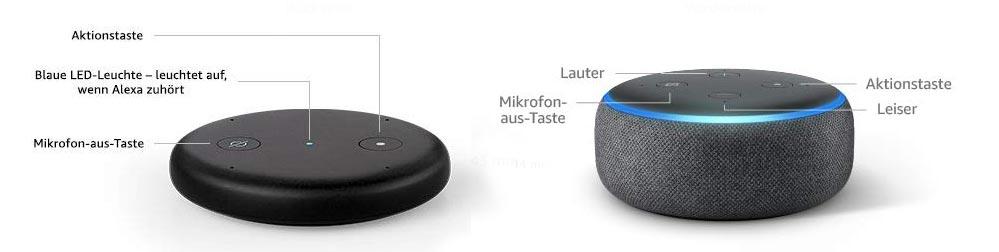 Der echo input verfügt im Gegensatz zum echo dot nicht über einen Lautsprecher und keinen LED-Leuchtring