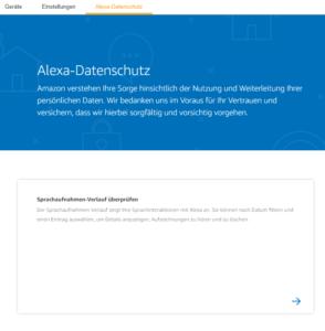 Auf der Alexa Datenschutzseite kann man die Sprachaufnahmen einsehen
