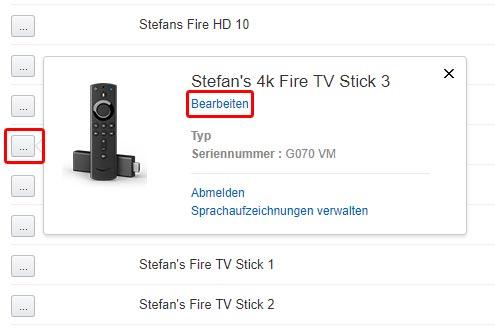 Mit einem Klcik auf den linken Button gelangt ihr zu den Einstellungen und könnt euren Fire TV Stick 4k umbenennen