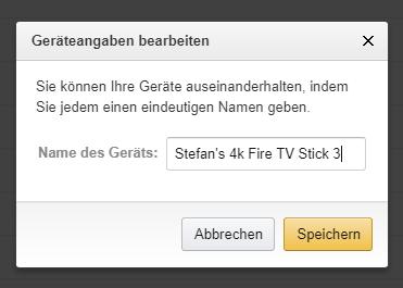Hier könnt ihr den Namen eures Fire TV Sticks ändern