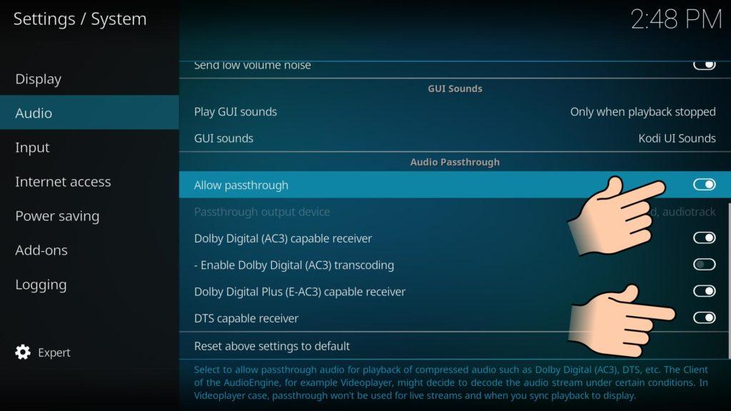 In Kodi Passthrough auswählen und DTS fähigen Receiver aktivieren