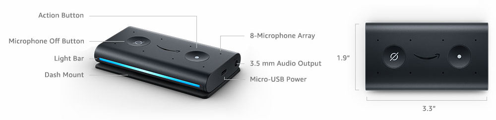Echo Auto verfügt über 8 Mikrofone, einen Audio Ausgang, Mico-USB Stromanschluss und Aktionstaste sowie Stummtaste
