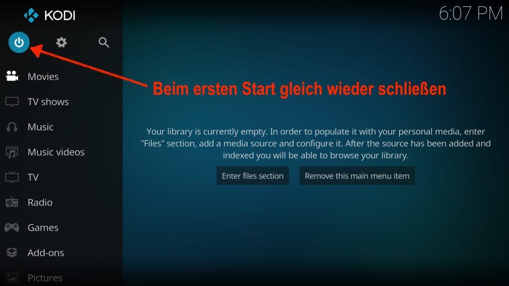 Nicht wundern: Beim ersten Start von Kodi auf Eurem Fire TV schließt Ihr es gleich wieder.