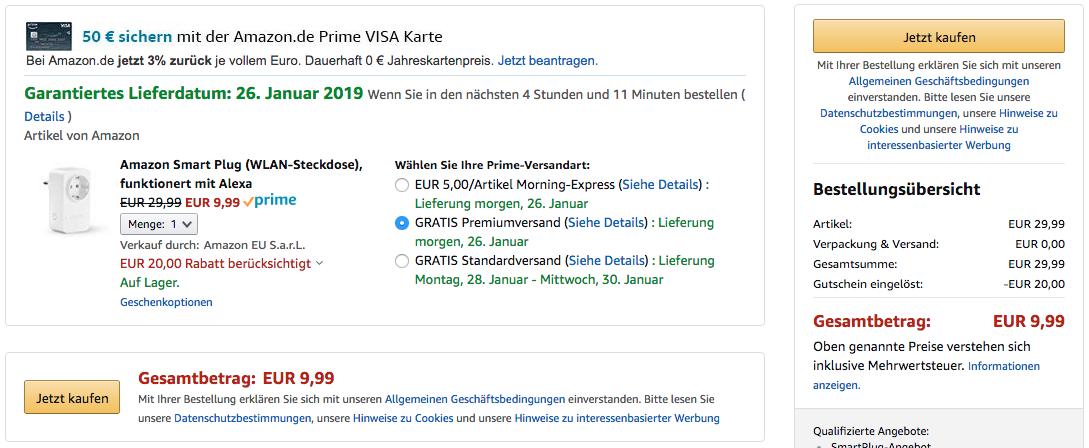 Dank des Gutscheincodes erhaltet Ihr die Amazon Alexa Steckdose für 9,99€ - einfach im Warenkorb bei den Zahlungsarten den Code SMART10 eingeben und schauen, ob der korrekte Preis berechnet wurde.