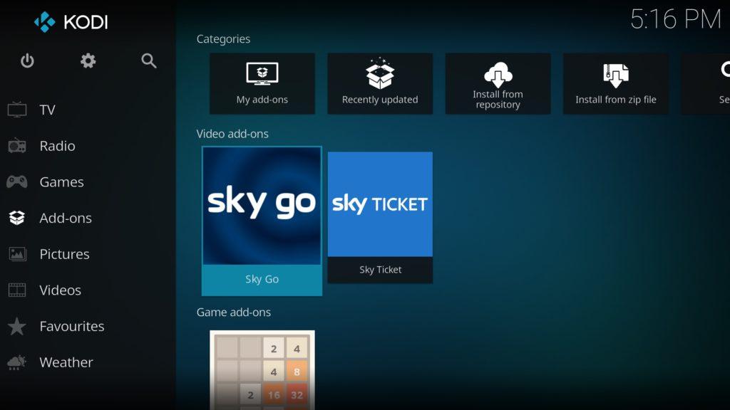 Das SkyGo Addon funktioniert wunderbar in Kodi 18.0 Leia.