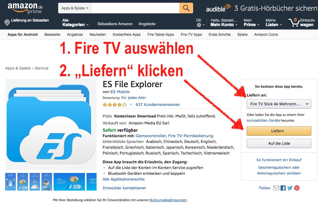 Den ES File Explorer installiert man am besten über die Amazon Webseite auf seinem Fire TV.