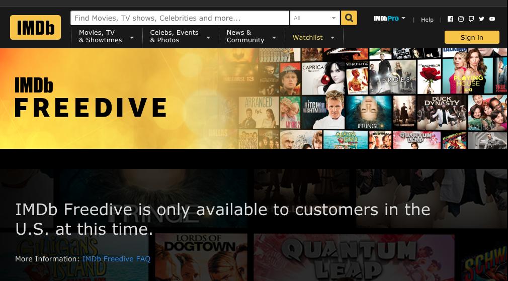 Diese Fehlermeldung erhalt.et Ihr, wenn Ihr von Deutschland aus IMDb Freedive zugreifen wollt