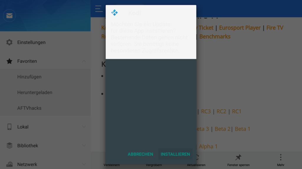 """So sieht der APK-Installationsdialog unter FireOS6 aus - leider kaum lesbar. Ihr müsst einfach auf """"INSTALLIEREN"""" klicken."""