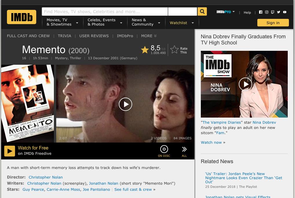 So sieht die Integration der kostenlosen Videos von IMDb Freedive auf der IMDb-Webseite aus.