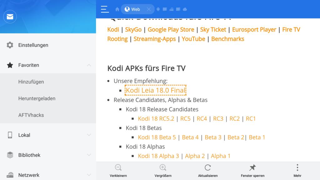 Wir empfehlen Euch immer den obersten Eintrag zu installieren - hier stellen wir Euch die sinnvollste Kodi-Version für das Fire TV bereit.