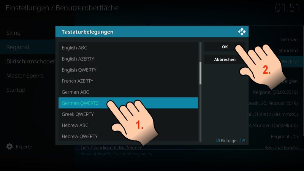 """Bei der Tastaturbelegung wählen wir dann bspw. """"German QWERTZ"""" und bestätigen rechts mit """"OK""""."""