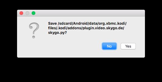 """Das Überschreiben der vorhandenen skygo.py Datei müsst Ihr dann nochmal mit Klick auf """"Yes"""" bestätigen."""